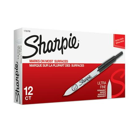 Sharpie Retractable Permanent Markers, Ultra Fine Tip, Black, 12 Count