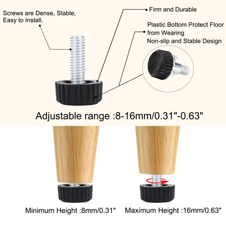 M6 x 18 x 18mm Leveling Feet Protector with T-nuts for Home Furniture Feet 4pcs - image 6 of 8