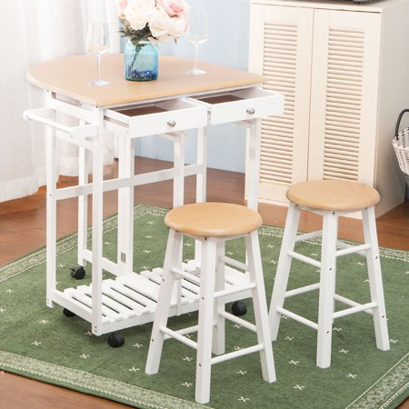 Rolling Kitchen Cart, Folding kitchen Island with Drop-Leaf Table, 3-Piece  kitchen Trolley Cart Set with Bar Stools, Space Saving Wood Kitchen ...
