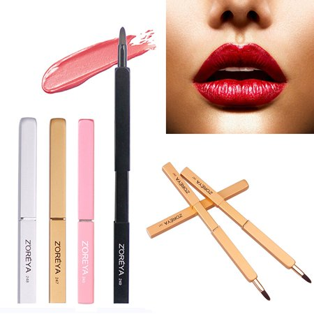 4 Colors Portable Automatic Retractable Lip Brush With Lid Brush Makeup Tool New
