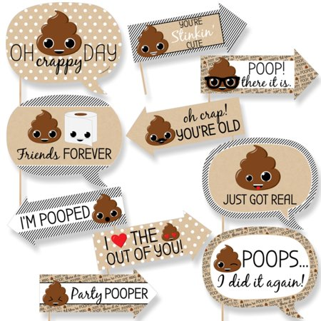 Funny Party 'Til You're Pooped - Poop Emoji Party Photo Booth Props Kit - 10 Piece