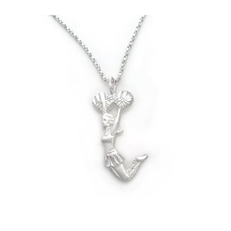 Sterling Silver Cheerleader Jumping with Pom-Pom Charm Necklace ()