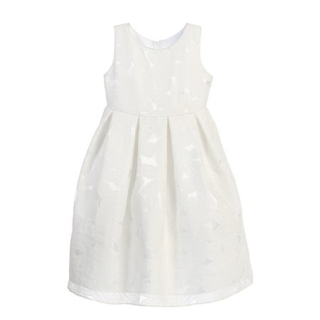 Angels Garment Little Girls Off White Pleats Organza Burnout Dress 6](Baseball Dress)