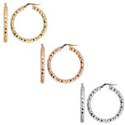 Fremada 10k Gold 3x25-mm Diamond-cut Round Hoop Earrings Rose