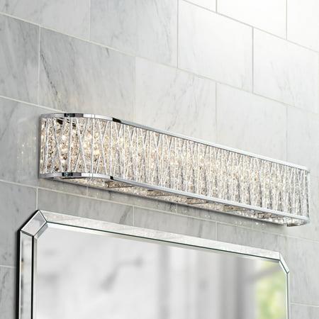 Possini Euro Design Woven Modern Wall Light Chrome Hardwired 36