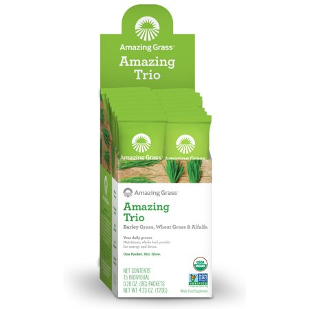 Amazing Grass Amazing Trio Alfalfa, Barley, & Wheatgrass Powder, 15 Packets