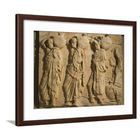 Bearers Carrying Hydria, the Parthenon Frieze (East Side), c. 442-38 BC Classical Greek Framed Print Wall Art