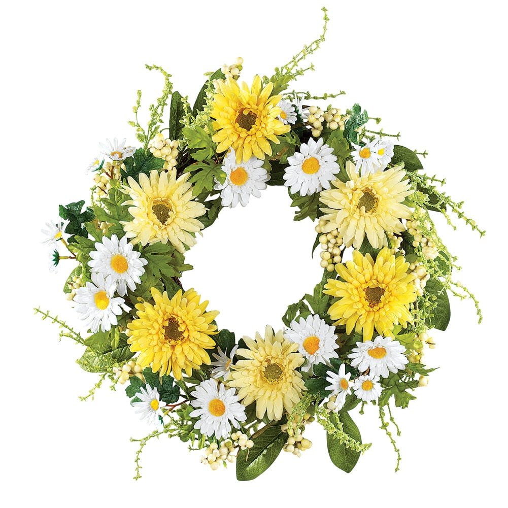 Yellow And White Daisy Wreath, Green