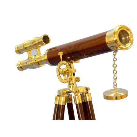 "Floor Standing Brass/Wood Griffith Astro Telescope 44"" - Brass Telescope - Maritime"