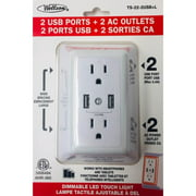 AHR-360 - WALL TAP 2-OUTLET 2USB 15A 125V 5VDC 2.4A W/ DIMMABLE LED LIGHT