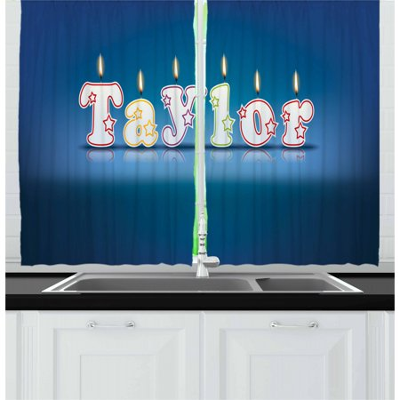 Taylor Curtains 2 Panels Set, Common Given Name in English Happy Occasion Candles Font Design on Blue, Window Drapes for Living Room Bedroom, 55W X 39L Inches, Blue and Multicolor, by Ambesonne Taylor Curtain Panel