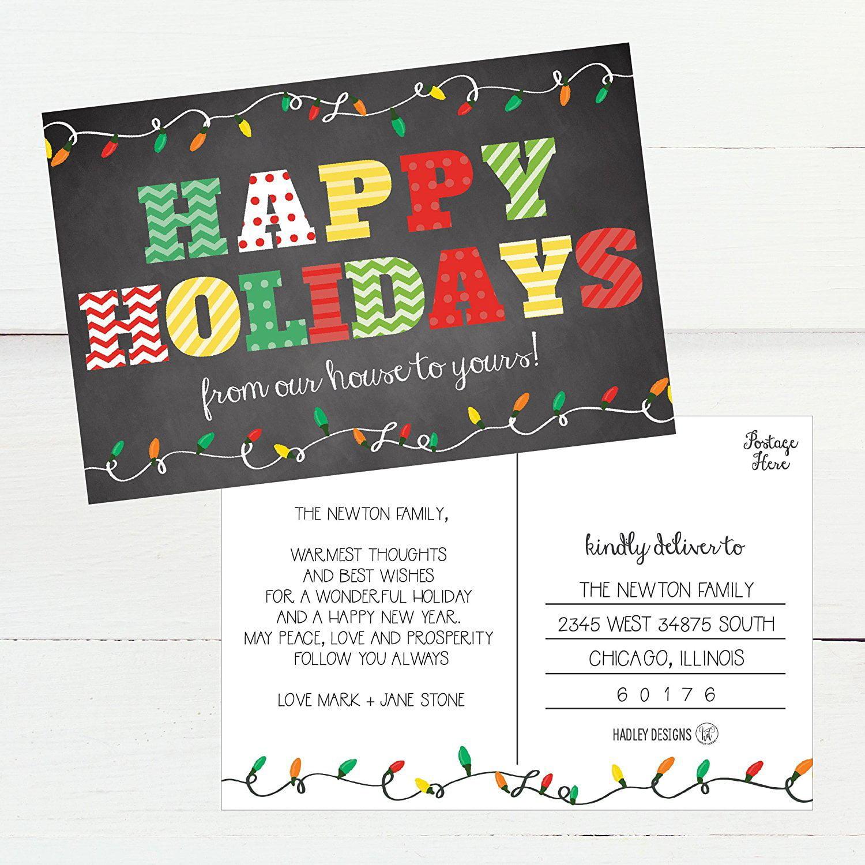 holiday card set holiday postcard set unique postcard winter greeting card Christmas card Hello winter postcard set Christmas postcard