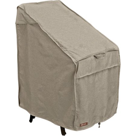 """Classic Accessories Montlake™ FadeSafe® Stackable Patio Chairs Cover - Water Resistant Outdoor Furniture Cover, 25.5""""L x 33.5""""D x 45""""H, Heather Grey"""