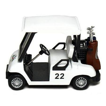 "New 4.5"" Kinsfun Golf Cart w/ Clubs Diecast Metal Model Caddy Toy Car White Logo"