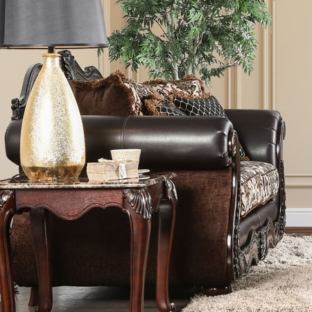 Furniture of America  Nave Traditional Brown Faux Leather Loveseat