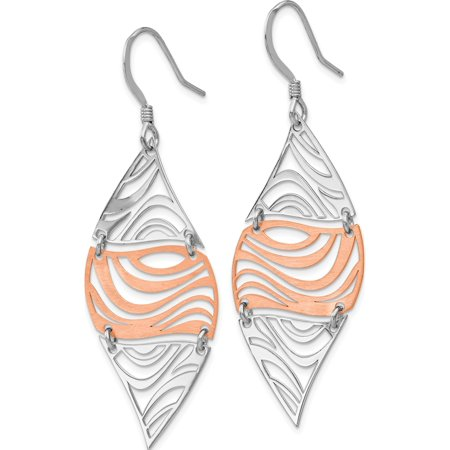Leslie's Sterling Silver Rose-tone 18k Flash Plated Dangle Earrings (56x18.7) - image 2 of 3