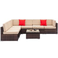 Ktaxon 7pcs Outdoor Patio Garden Rattan Wicker Furniture Rattan Sectional Sofa Set with Beige Cushions