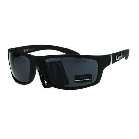 Locs All Black Mad Dog Cholo Rectangular Gangster Biker Sunglasses Matte (Mad Dog Sunglasses)