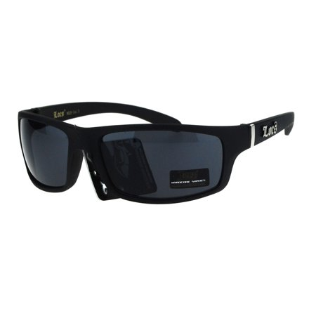 Locs All Black Mad Dog Cholo Rectangular Gangster Biker Sunglasses Matte (Locs Mens Cholo Biker Sunglasses)