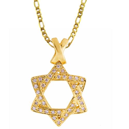 Eastern Jewelry Gold Vermeil Cubic Zirconia Star of David Necklace