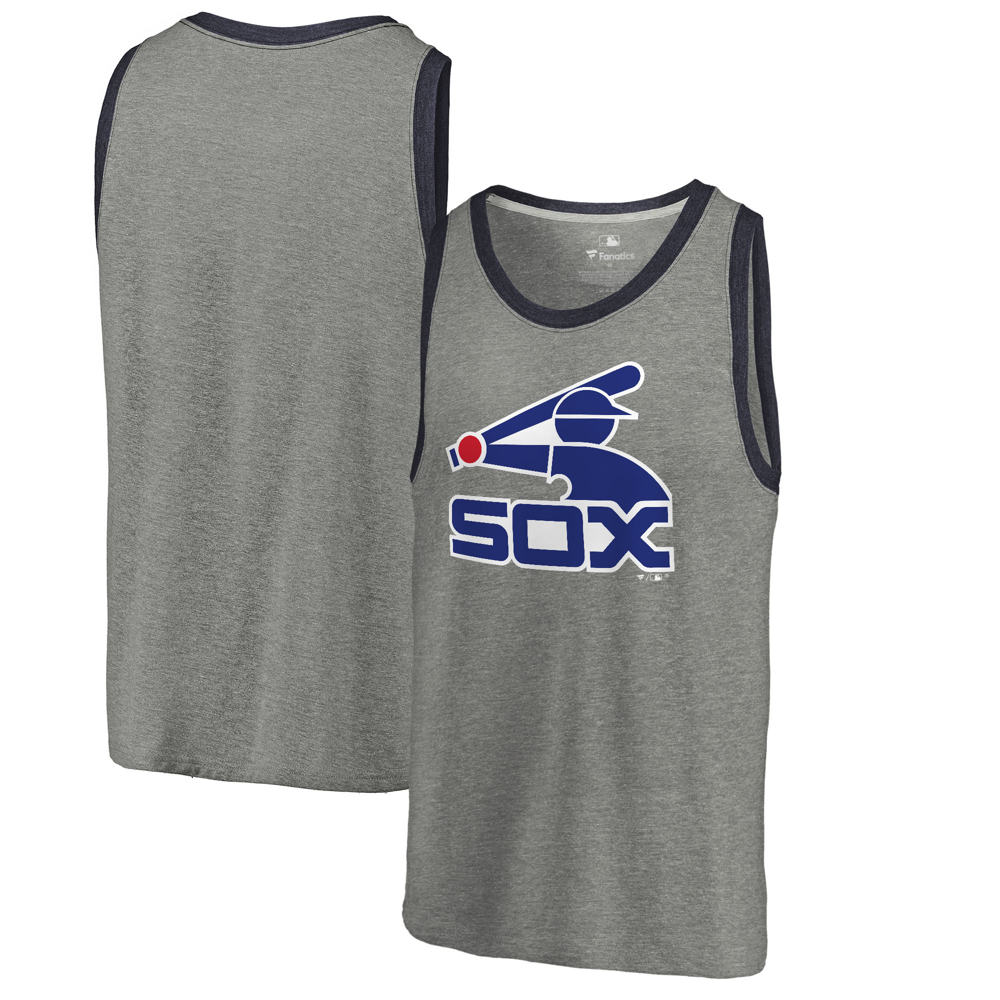 Chicago White Sox Fanatics Branded Cooperstown Collection Huntington Tri-Blend Tank Top - Heathered Gray