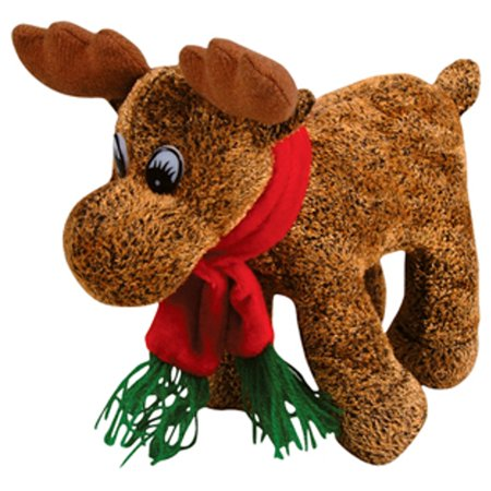 Cute Plush Christmas Reindeer Decorationtoy Animal With Winter Scarf