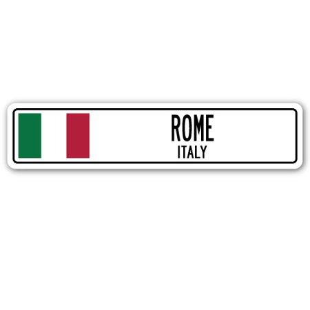 ROME, ITALY Street Sign Italian flag city country road wall (Rome Italy Flag)