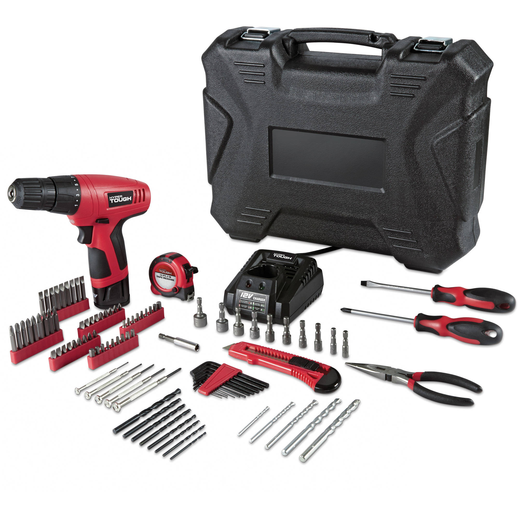 Hyper Tough 5241.41 12-Volt Cordless Lithium Ion Drill with 100-Piece Project Kit