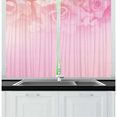 Light Pink Curtains 2 Panels Set, Rose Petals in Soft Pastel Tones Romantic Bridal Floral Valentines Graphic Artwork, Window Drapes for Living Room Bedroom, 55W X 39L Inches, Coral, by Ambesonne