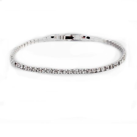 SEXY SPARKLES 6.7inch Tennis Bracelets Platinum Filled with Clear Rhinestones