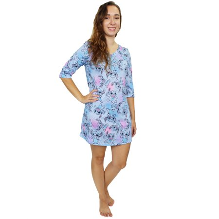lilo & stitch women's 3/4 sleeve dorm nightgown pajamas lo004xdh