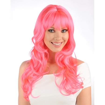 Giant Trading Womens Sexy Long Wavy Bangs Hot Pink Anime Cosplay Wig