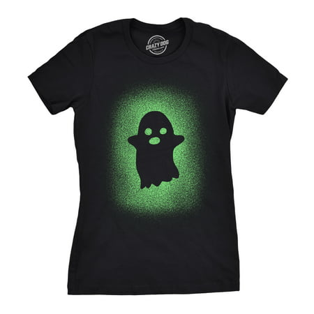 Glow In The Dark Halloween Shirts (Womens Glowing Ghost T Shirt Glow In The Dark Cool Halloween Party)