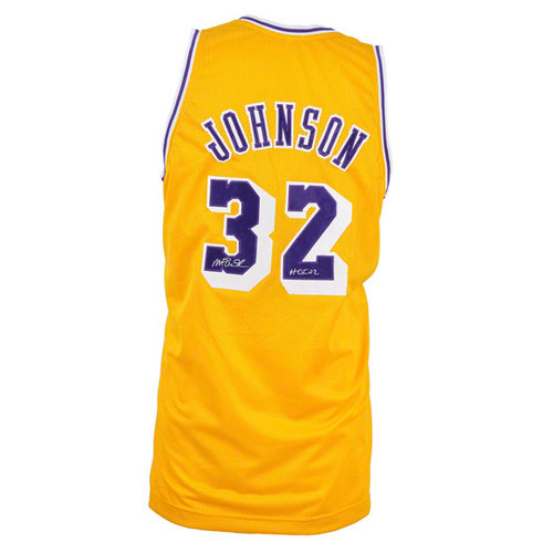 "NBA - Magic Johnson Autographed Jersey | Details: Los Angeles Lakers, Custom, Gold, with ""HOF 02"" Inscription"