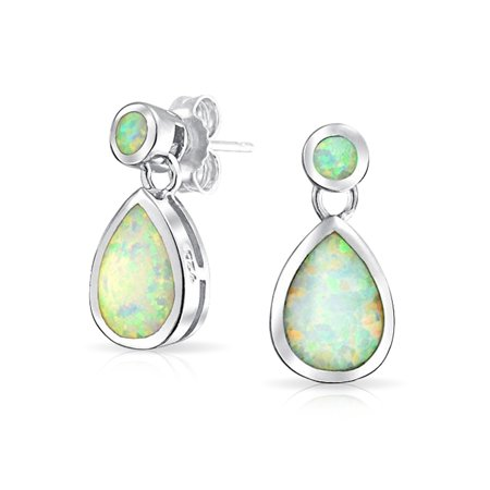 White Created Opal Iridescent Teardrop Pear Shaped Dangle Earrings For Women 925 Sterling Silver October Birthstone - image 4 of 4