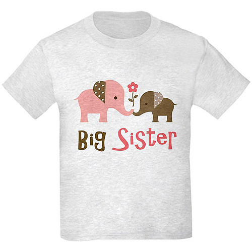 Cafepress Girl's Big Sister Elephants Graphic Tee