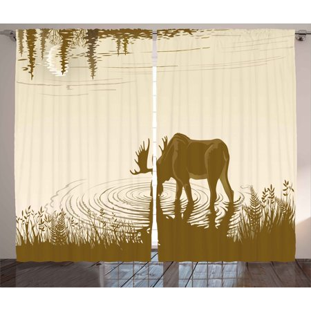 Animal Curtains 2 Panels Set, Silhouette of Elk Drinking Water in Lake River Forest Wildlife Scenery Illustration, Window Drapes for Living Room Bedroom, 108W X 96L Inches, Cream Sepia, by Ambesonne (Two Step Drinking Water Treatment)