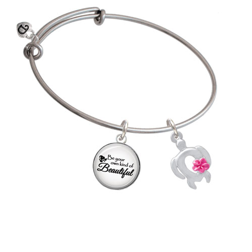 Open Sea Turtle with Hot Pink Plumeria Be Your Own Kind of Beautiful Bangle Bracelet