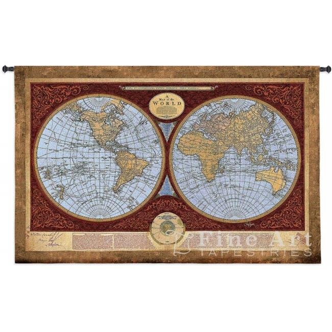 FineArtTapestries 4568-WH Map Of The World Medium Wall Tapestry