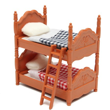 Meigar Dollhouse Furniture Sets Miniature Plastic Doll House Bunk Bed Furniture Set Kids Role Pretend Toy Kids Children Christmas Gifts