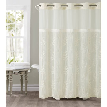 Hookless Ivory Palm Leaves Polyester Shower Curtain