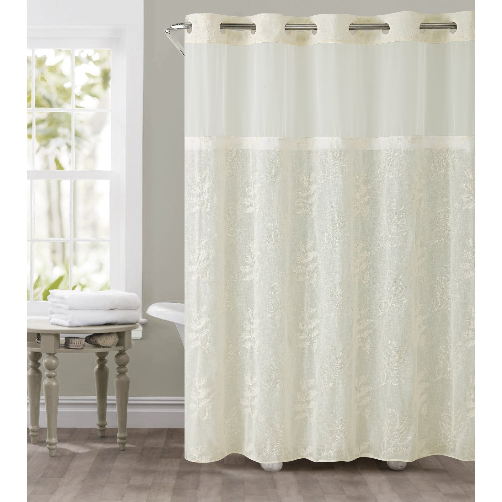 Hookless Ivory Palm Leaves Polyester Shower Curtain   Walmart.com