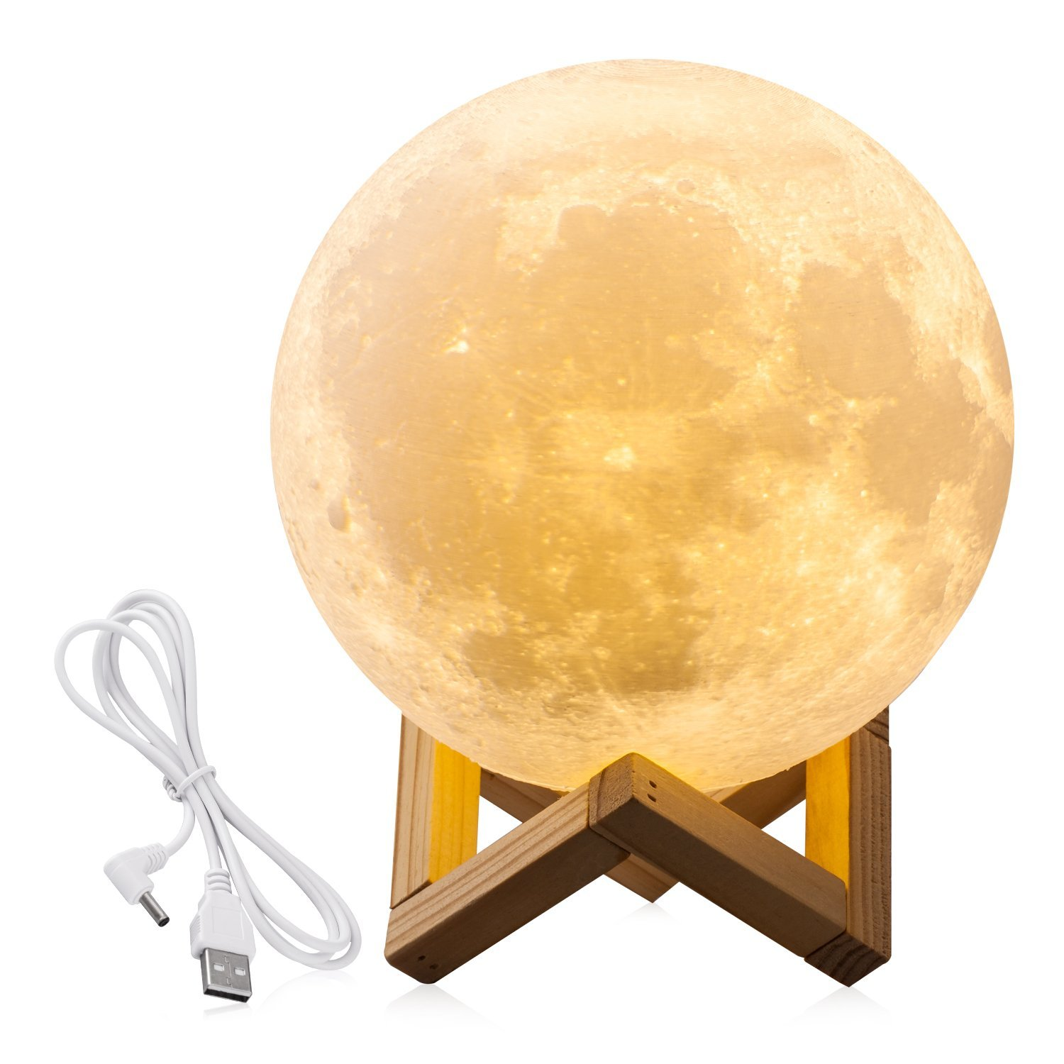 "7.1"" Large Moon Light, 3D Printing Moon Lunar LED Night Light Lamp with Wooden Stand,White"