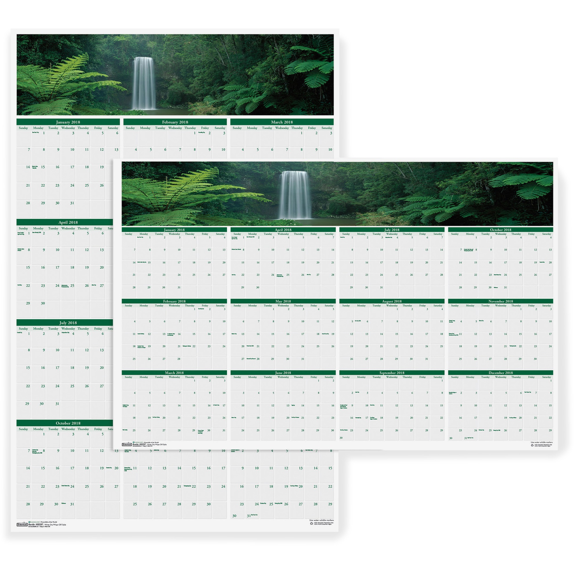 "House of Doolittle Wall Calendar,Laminated,12 Mth,Jan-Dec,24""x37"",Waterfalls HOD397"
