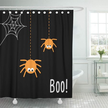 PKNMT Yellow Abstract Halloween Party Night with Spider and Baby Calligraphy Cartoon Color Waterproof Bathroom Shower Curtains Set 66x72 inch - Abstract Halloween