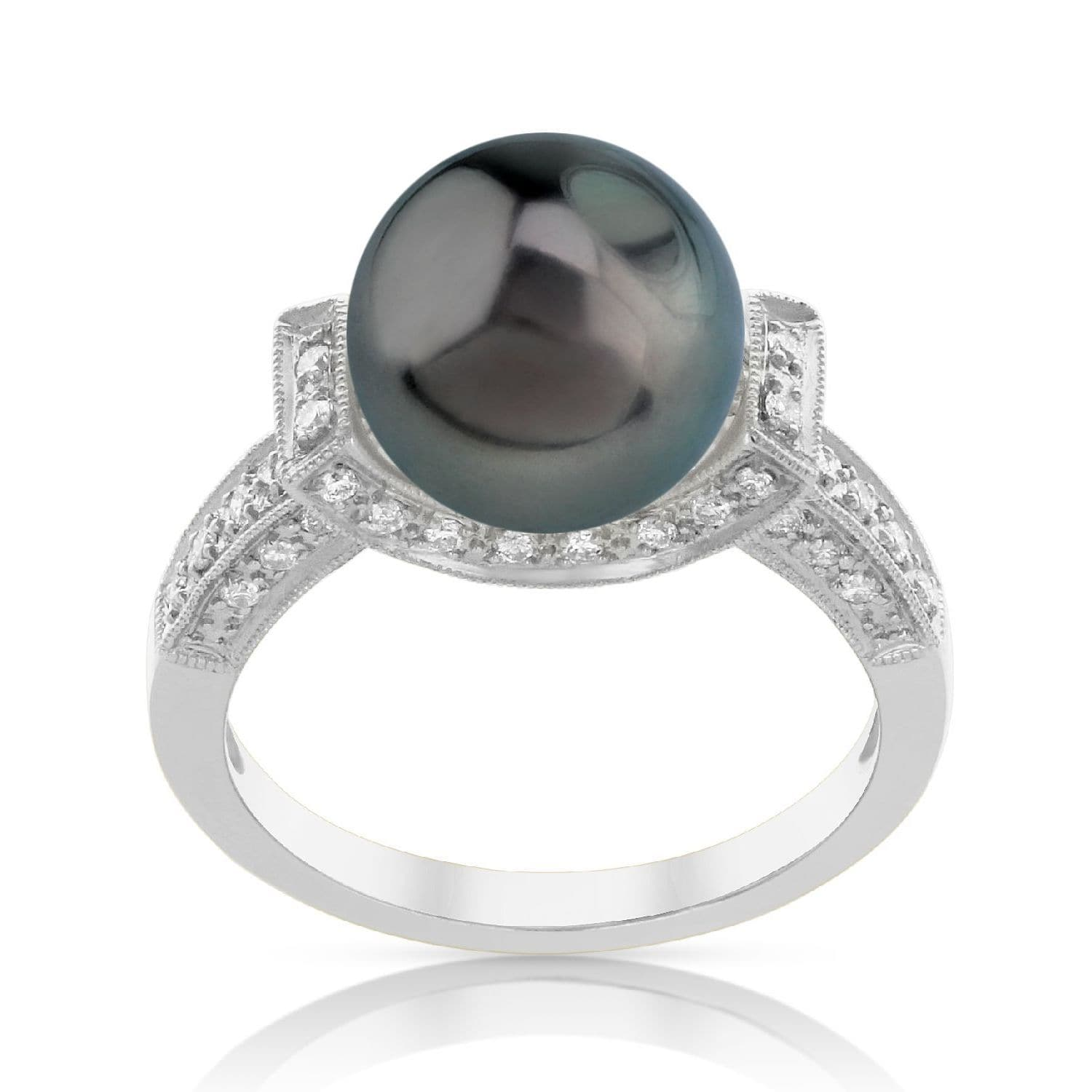 Radiance Pearl 18k Gold Tahitian South Sea Pearl and Diamond Ring (G-H, SI1-SI2) by Overstock