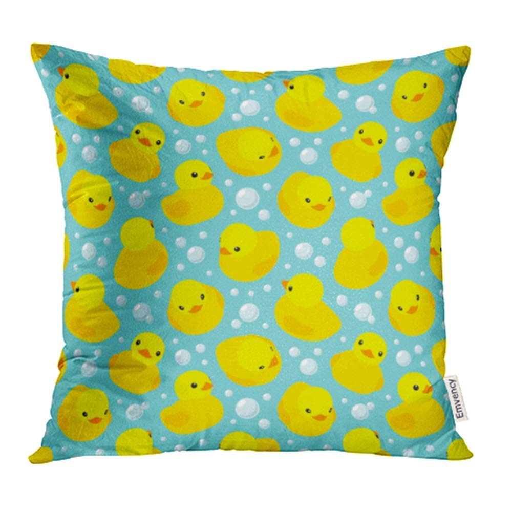 CMFUN Baby with Yellow Rubber Ducks The is Fully Bath Bathtime Cartoon Child Water Pillow Case Pillow Cover 20x20 inch Throw Pillow Covers