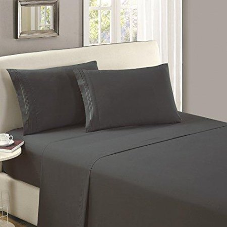 - Mellanni Flat Sheet TwinXL Gray - Brushed Microfiber 1800 Bedding Top Sheet - Wrinkle, Fade, Stain Resistant - Hypoallergenic - (Twin XL, Gray)