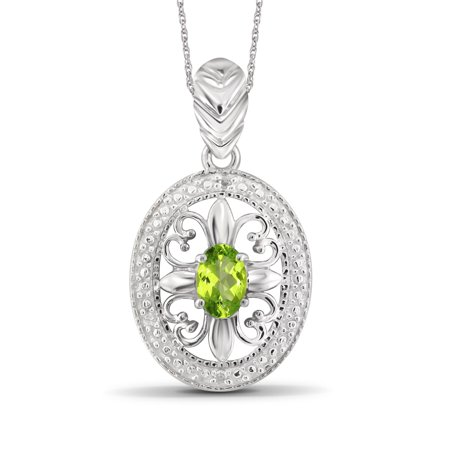 0.48 Carat T.G.W. Peridot Gemstone and White Diamond Accent