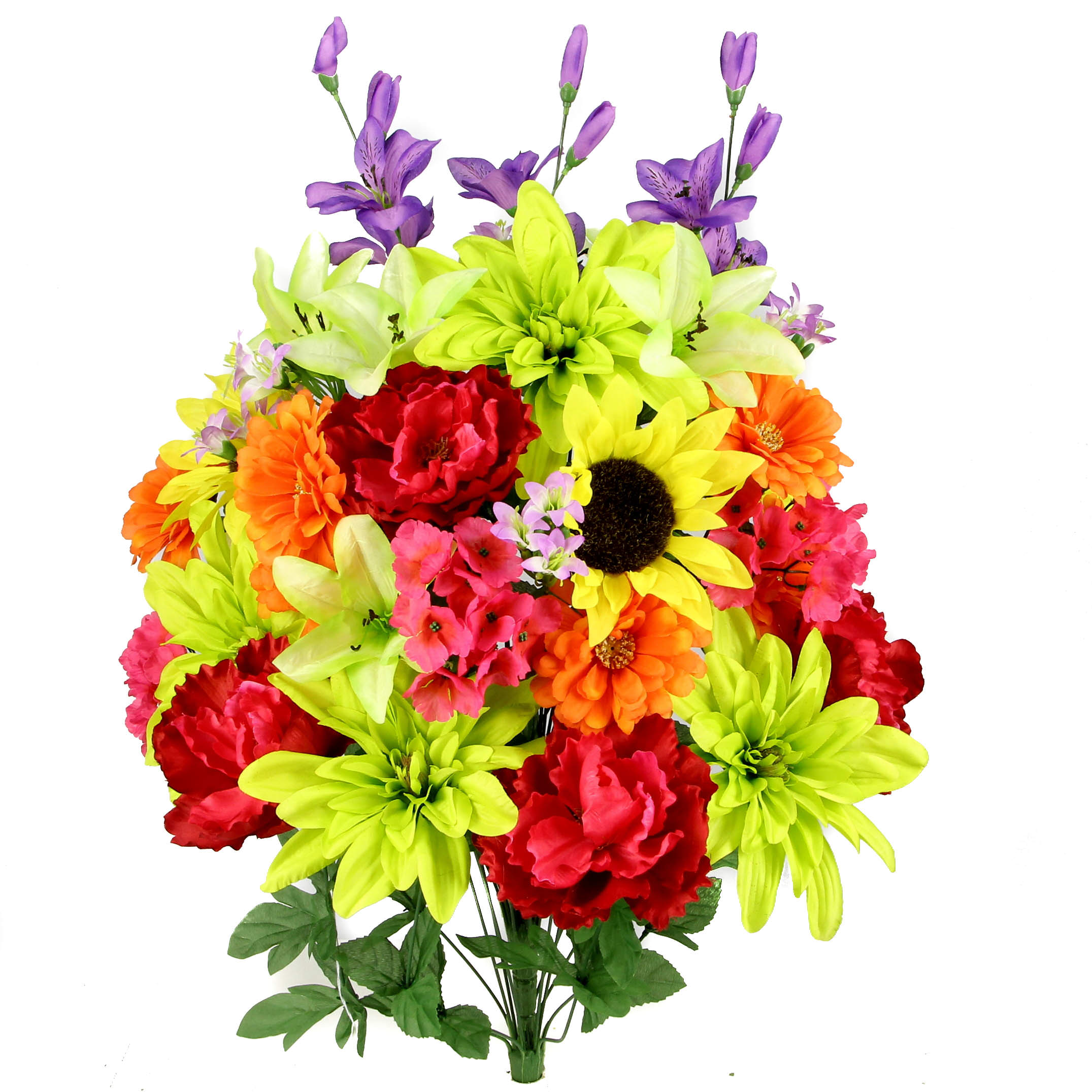Admired By Nature 36 Stems Artificial New Dahlia, Sunflower, Peony, Hydrangea Mixed Flower Bush with Greenery, Country